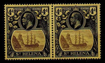 ST.HELENA - 1923 4d mint pair with TORN FLAG variety.  SG 92b.