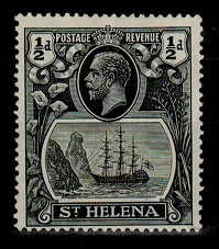 ST.HELENA - 1936 1/2d black printing  mint with BROKEN MAST variety.  SG 97ga.