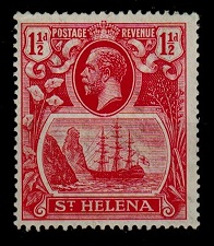 ST.HELENA - 1923 1 1/2d mint with CLEFT ROCK variety.  SG 99c.