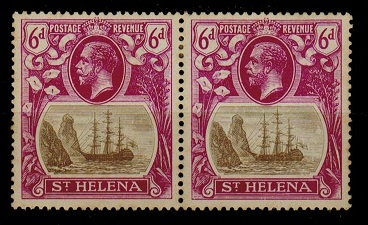 ST.HELENA - 1922-37 6d mint (light toned gum) pair with TORN FLAG variety .  SG 104b.