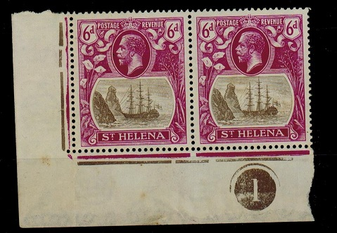 ST.HELENA - 1922-37 6d mint corner plate pair with CLEFT ROCK variety.  SG 104c.