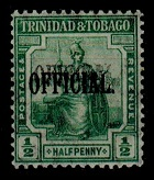 TRINIDAD AND TOBAGO - 1916 1/2d OFFICIAL mint with OVERPRINT DOUBLE.  SG 014.