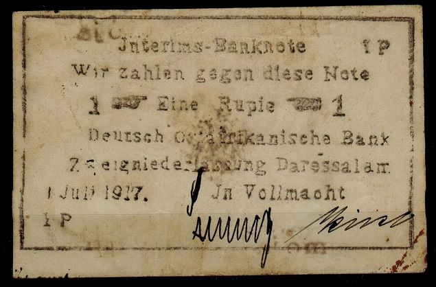 TANGANYIKA (German) - 1917 1r EMERGENCY BANKNOTE.