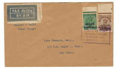 INDIA (Gwalior) - 1937 BOMBAY-DELHI first flight cover from GWALIOR.