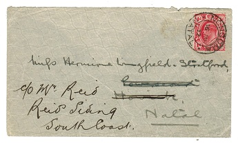 ZULULAND - 1912 cover to Natal with Transvaal 1d tied NONGOMA.