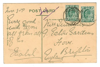 ZULULAND - 1911 postcard to UK bearing Transvaal 1/2d pair tied MELMOTH/ZULULAND.