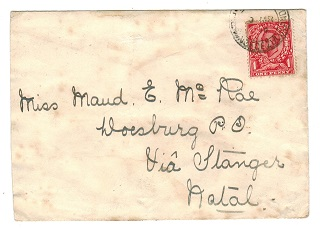 ZULULAND - 1914 Inward cover from GB with 1d