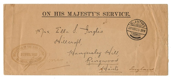 NYASALAND - 1933 OHMS stampless cover to UK used at BLANTYRE.