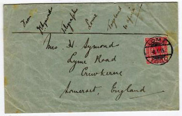 TOGO - 1915 un-overprinted 1d of Gold Goast used on military TELEGRAPH OFFICE cover to UK.