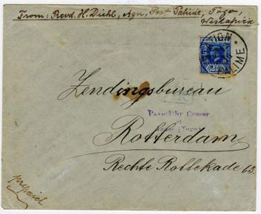 TOGO - 1916 Missionary cover to Holland with 2 1/2d rating and PASSED BY CENSOR/AT/LOME h/s applied.