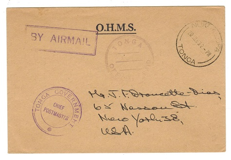 TONGA - 1963 OHMS stampless cover to USA used at NUKUALOFA.