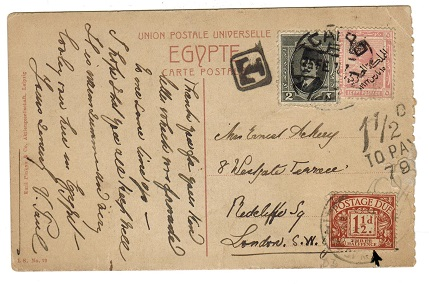 EGYPT - 1922 underpaid picture postcard to UK from CAIRO.