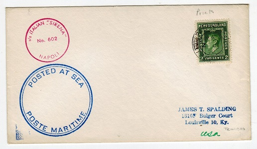 NEWFOUNDLAND - 1952 S/S ITALIAN maritime cover to USA cancelled PAQUEBOT/TRINIDAD.