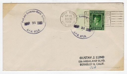 NEWFOUNDLAND - 1949 PORT AUX BASQUES NORTH SYDNEY cover addressed to USA.