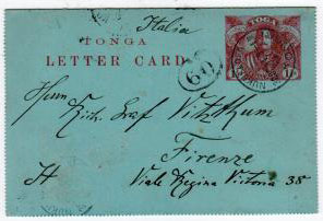 TONGA - 1910 1 1/2d PS LETTER CARD to Italy from NUKUALOFA.  H&G 1.