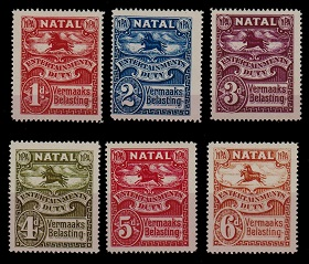 NATAL - 1925 1d to 6d NATAL ENTERTAINMENTS DUTY adhesives in unmounted mint condition.