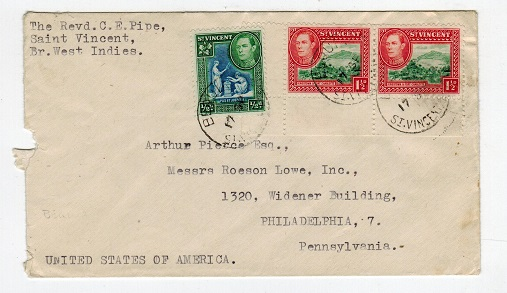 ST.VINCENT - 1948 2 1/2d rate cover to USA used at BEQUIA/ST.VINCENT.