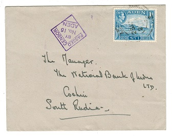 ADEN - 1942 PASSED BY CENSOR/No.16 cover to India.