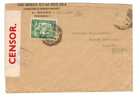 ADEN - 1940 PASSED BY CENSOR/No.12 cover to USA.