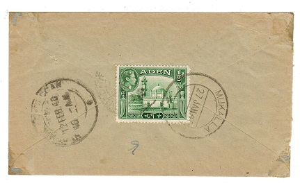 ADEN - 1940 PASSED BY CENSOR/No.10 cover  to India from MUKALLA.