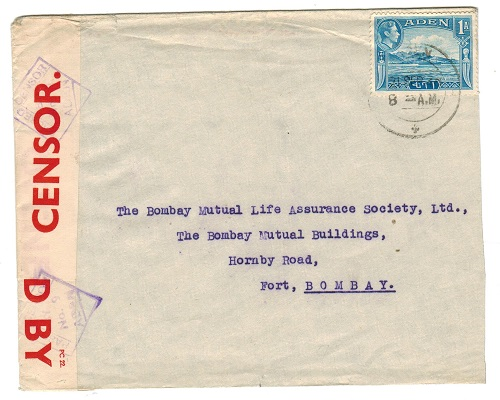 ADEN - 1940 PASSED BY CENSOR/No.9 cover to India.