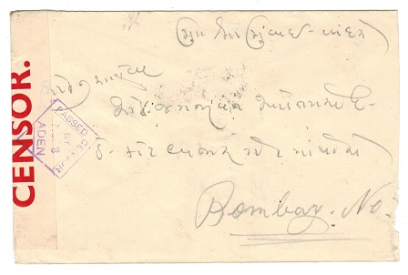 ADEN - 1940 PASSED BY CENSOR/No.8 cover to India.