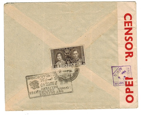 ADEN - 1940 PASSED BY CENSOR/No.6 cover to India