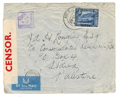 ADEN - 1941 PASSED BY CENSOR/No.4 cover to Palestine.
