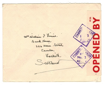 ADEN - 1939 PASSED BY CENSOR/No.2 cover to UK.