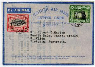 TONGA - 1940 (circa) PS TONGA/LETTER CARD genuinely used to Australia and uprated from NUKUALOFA.