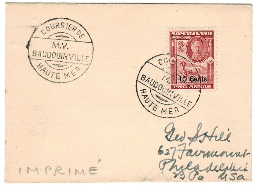 SOMALILAND - 1950 (circa) M.V.BAUDOUINVILLE maritime cover addressed to USA.