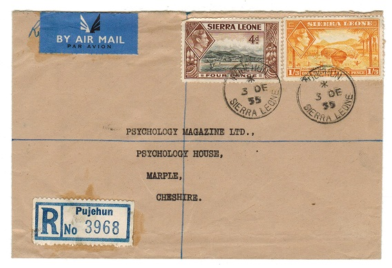 SIERRA LEONE - 1955 1/7d rate registered cover to UK used at PUJEHUN.