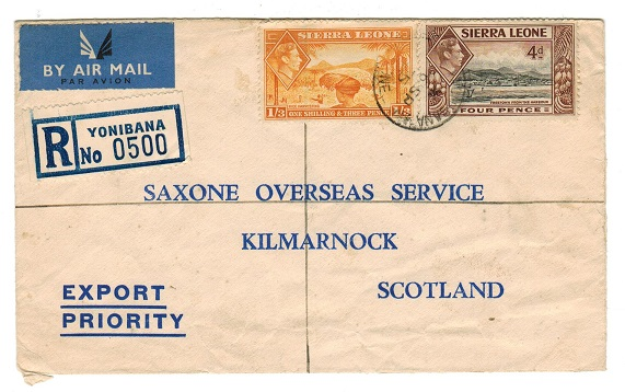 SIERRA LEONE - 1955 1/7d rate registered cover to UK used at YONIBANA.