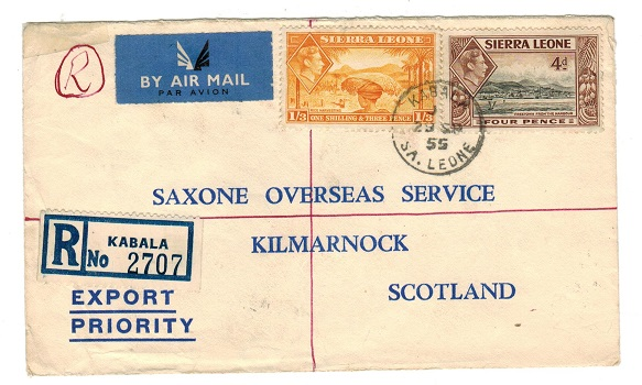 SIERRA LEONE - 1955 1/7d rate registered cover to UK used at KABALA.
