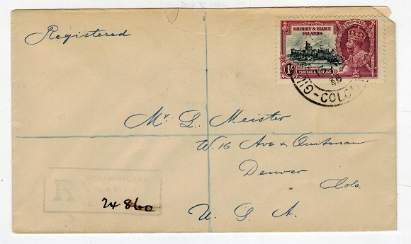 GILBERT AND ELLICE IS - 1936 registered cover to USA with