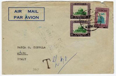 TRANSJORDAN - 1958 under paid cover to Italy with tax mark.