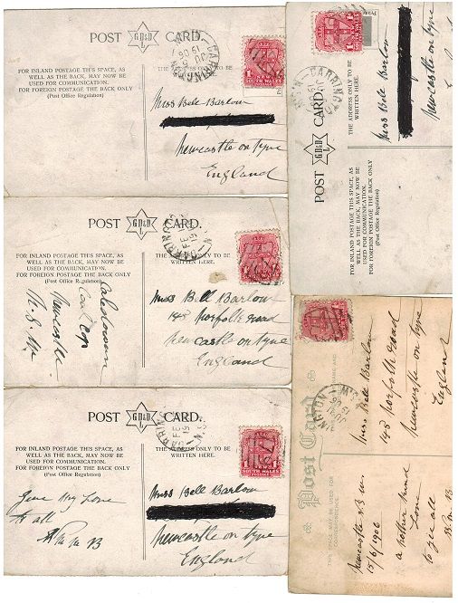 AUSTRALIA (New South Wales) - Five 1906 postcards used at