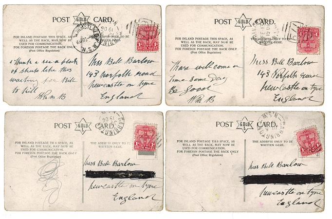 AUSTRALIA (New South Wales) - Four 1906 postcards to UK used at