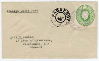 TRISTAN DA CUNHA - 1930 (circa) GB 1/2d stationery cut out on cover to UK tied by TRISTAN DA CUNHA h