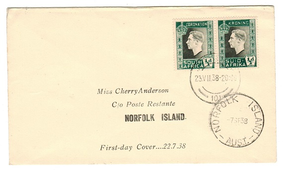 NORFOLK ISLAND - 1938 Inward first day cover from South Africa.