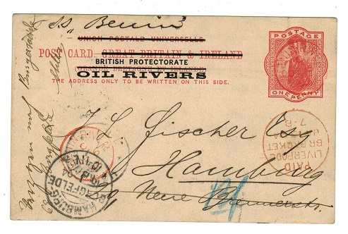 NIGER COAST - 1892 1d PSC to Germany used at BENIN RIVER with