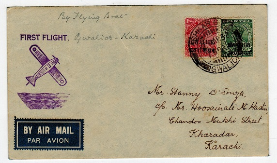 INDIA (Gwalior) - 1938 first flight cover from ASHKAR GAD.