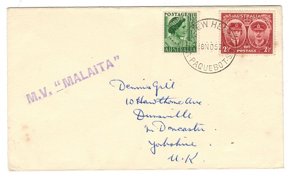 NEW HEBRIDES - 1952 NEW HEBRIDES PAQUEBOT cover with M.V.MALAITA maritime cancel.