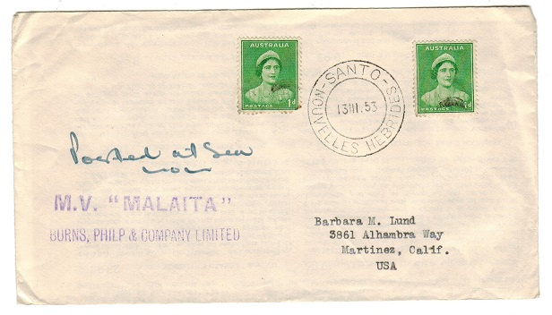 NEW HEBRIDES - 1953 M.V.MALAITA maritime cover from SANTO.