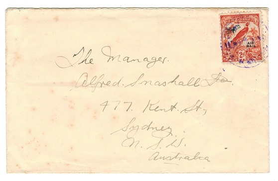 NEW GUINEA - 1937 2d rate cover from GASMATA with strike in violet ink.