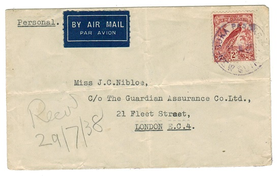 NEW GUINEA - 1938 2/- rate cover used at BUKA PASSAGE with strike in violet ink.