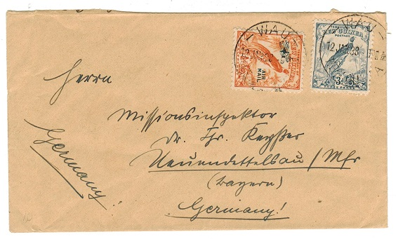 NEW GUINEA - 1938 3 1/2d rate cover to Germany used at WAU.
