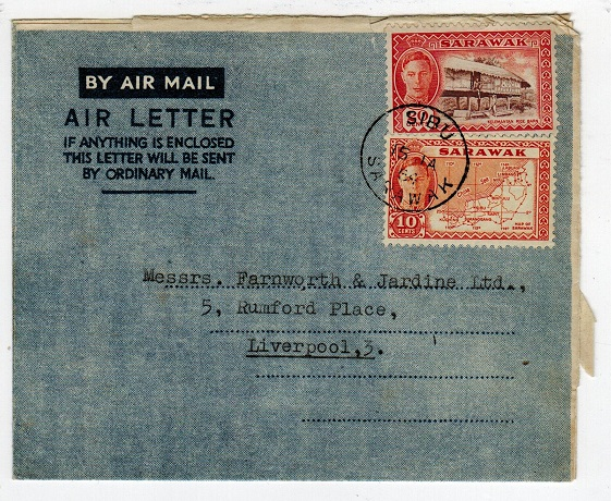 SARAWAK - 1954 30c rate use of FORMULA type air letter to UK from SIBU.