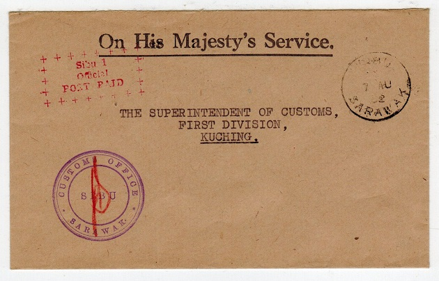 SARAWAK - 1952 local OHMS cover with red SIBU/OFFICIAL/POST PAID h/s.
