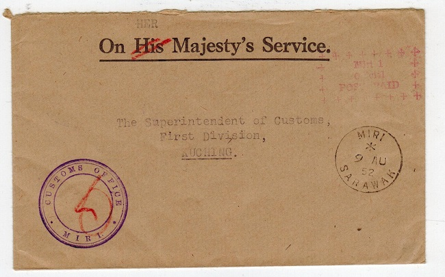 SARAWAK - 1952 local stampless cover with red MIRI/OFFICIAL/POST PAID h/s.